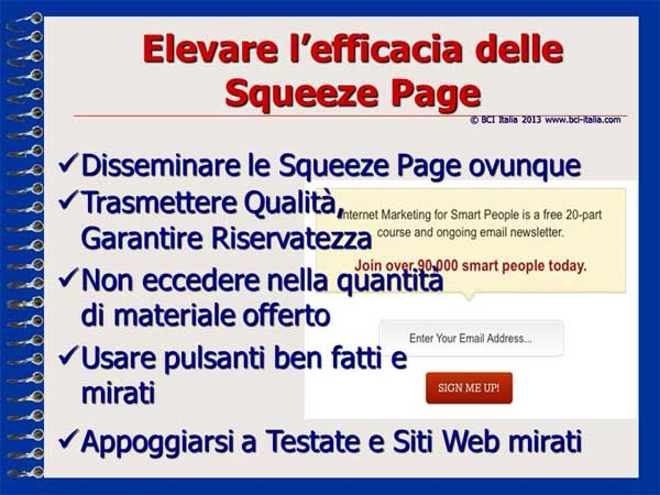 e-Mail Marketing in Italia e per gli Italiani Capitolo 5 Squeeze Page